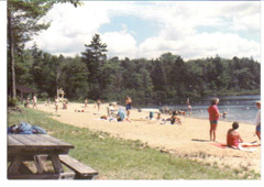 1987 photo of people on the beach with forest in the background
