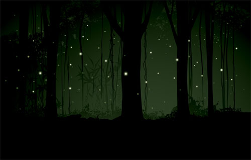 A dark woods with fireflies