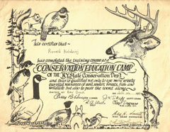 A diploma from a Conservation Education camp