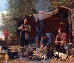 A portion of a paintingshowing men and two dogs at a campsite in the woods