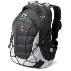 A grey and black backpack