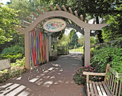 An arched wooden pergola forms amd entrance to a children's garden