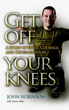 The cover of 'Get Off Your Knees' showing congenital amputee John Robinson