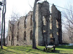 The remains of an old stone flour mill
