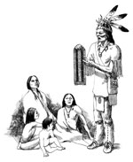 Drawing of a native American man talking about the two-row wampum to his family members who are seated on the ground around him