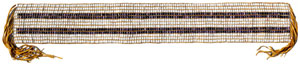 An image of a tan wampum with two horizontal brown lines and tassels on each end