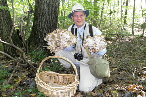 A man kneels in the forest hold a large cluster of mushrooms in each hand