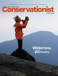 The cover of the June 2015 issue of Conservationist features a photo of Anne LaBastille