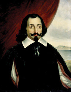 A portrait of Samuel Champlain with a red drape and the Hudson River behind him