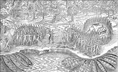 A black and white drawing by Champlain showing him joining with native Americans in a battle with the Iroquois