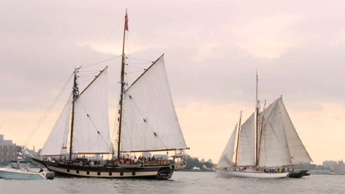 Antique sailing ships on the Hudson River