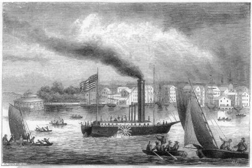 An early image of a steamboat and other boats on the river