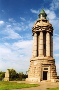 Crown Point lighthouse of gray limestone