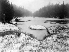 Historic black and white photo of Lake Tear in winter