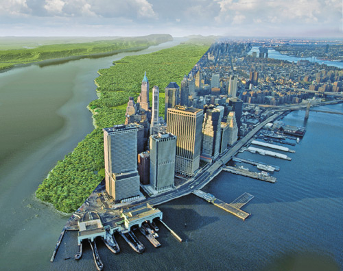 Manhattan island split in half with it's original, natural state on the left and developed state on the right
