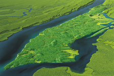 Simulation of an aerial view of Manhattan in the early 1600 showing forests, marshes and fields covering the island