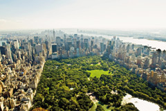 Central Park and Manhattan seen from the air in summer