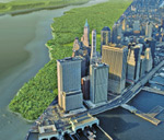Simulation of the southern part of Manhattan island showing conditions in 1600 and now