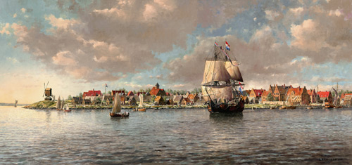 A painting depicting a Dutch ship leaving from Manhattan in 1660