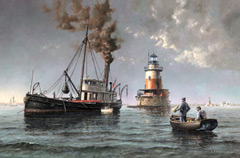 A painting of a buoy-tender ship with a lighthouse in the background