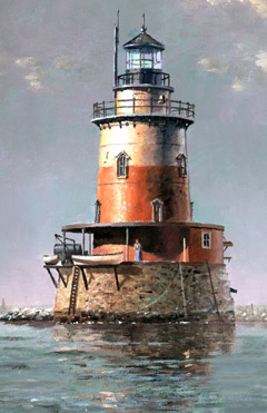 A lighthouse in the middle of the water with a woman standing outside
