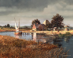 A painting of a Dutch farm with a creek, sailboat, haystack and farmhouse