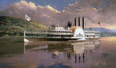 A painting of a steamship on the Hudson River