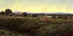 A painting of a mahican indian crossing a field to his summer camp