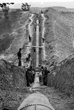 A black and white photo of workers standing in and along a water conduit in a trench
