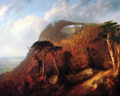 An oil painting of a large white house perched high on a cloudy ridge in fall