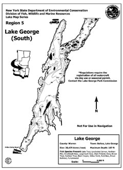 A map showing lake depths for the southern end of Lake George