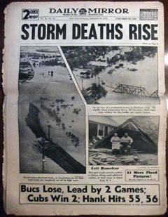 Front page of the Daily Mirror with the headline: Storm Deaths Rise