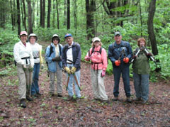 A group of hikers in the woods