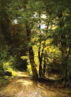 A painting of a dirt road passing through dappled shade of a forest