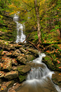 Chittenango Falls waterfall in the state park in fall
