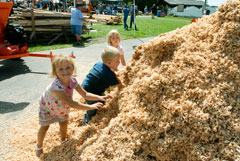 Young blonde children playing in sawdust