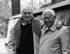 A black and white photograph of Paul Newman and Charlie Wood.