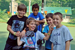 Five young boys who are campers at Double H Ranch