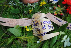Campers wishes written on strips of birch bark