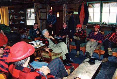 Paul Schaefer meeting with hunters at Beaver House