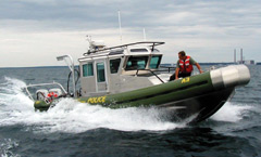 An ECO on a patrol motor boat