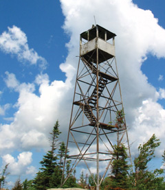 A fire tower seen from below