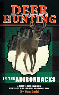 A book cover on Deer Hunting in the Adirondacks showing a deer in the snow