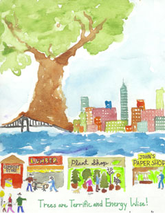 A poster by a fifth-grader of a large tree by a city sky line with a river in front