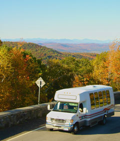 The viewmobile climbs the road to the top of Prospect Mt.