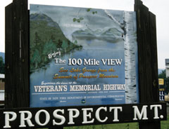 Sign advertising Prospect Mt. and the 100 mile view