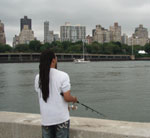 A man fishing in New York City
