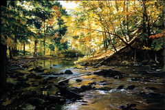 A painting of a brook running through the woods with an angler fishing in the distance