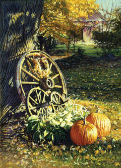 An autumn scene with a wagon wheel, and pumpkins by Mark Verna