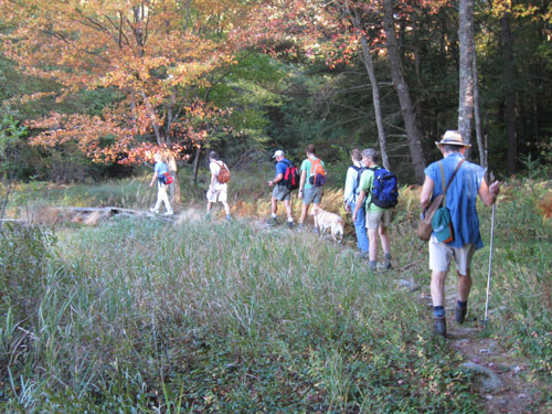 A group of hikers on a trail in fall